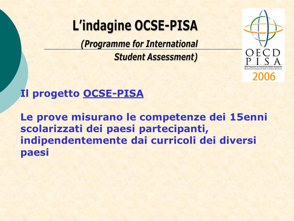 Il progetto OCSE-PISA Le prove misurano le competenze dei 15enni scolarizzati dei paesi partecipanti, indipendentemente dai curricoli dei diversi paes