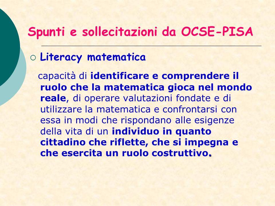 Spunti e sollecitazioni da OCSE-PISA Literacy matematica. capacità di identificare e comprendere il ruolo che la matematica gioca nel mondo reale, di