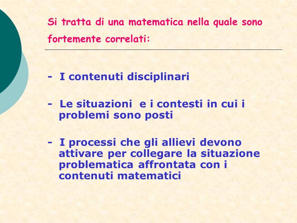 Si tratta di una matematica nella quale sono fortemente correlati: - I contenuti disciplinari - Le situazioni e i contesti in cui i problemi sono post