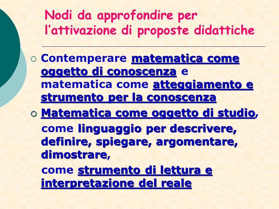 Nodi da approfondire per lattivazione di proposte didattiche matematica come oggetto di conoscenza atteggiamento e strumento per la conoscenza Contemp
