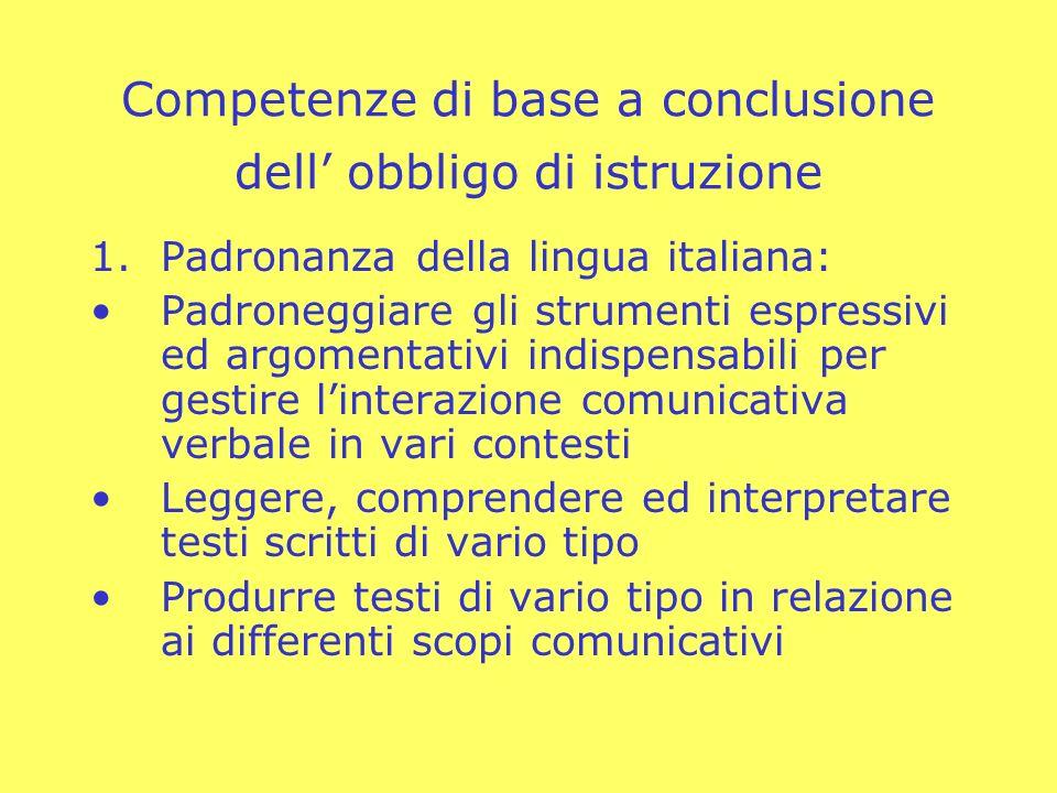 Competenze di base a conclusione dell obbligo di istruzione 1.Padronanza della lingua italiana: Padroneggiare gli strumenti espressivi ed argomentativ