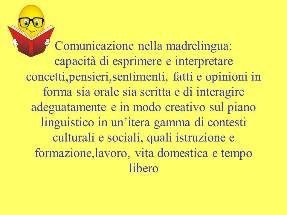 Comunicazione nella madrelingua: capacità di esprimere e interpretare concetti,pensieri,sentimenti, fatti e opinioni in forma sia orale sia scritta e