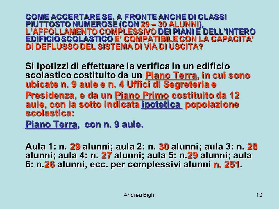 Andrea Bighi10 COME ACCERTARE SE, A FRONTE ANCHE DI CLASSI PIUTTOSTO NUMEROSE (CON 29 – 30 ALUNNI), LAFFOLLAMENTO COMPLESSIVO DEI PIANI E DELLINTERO EDIFICIO SCOLASTICO E COMPATIBILE CON LA CAPACITA DI DEFLUSSO DEL SISTEMA DI VIA DI USCITA.
