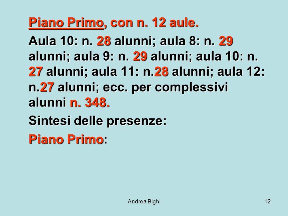 Andrea Bighi12 Piano Primo, con n. 12 aule. Aula 10: n.