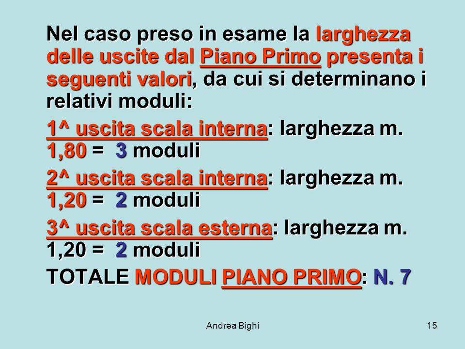 Andrea Bighi15 Nel caso preso in esame la larghezza delle uscite dal Piano Primo presenta i seguenti valori, da cui si determinano i relativi moduli: 1^ uscita scala interna: larghezza m.