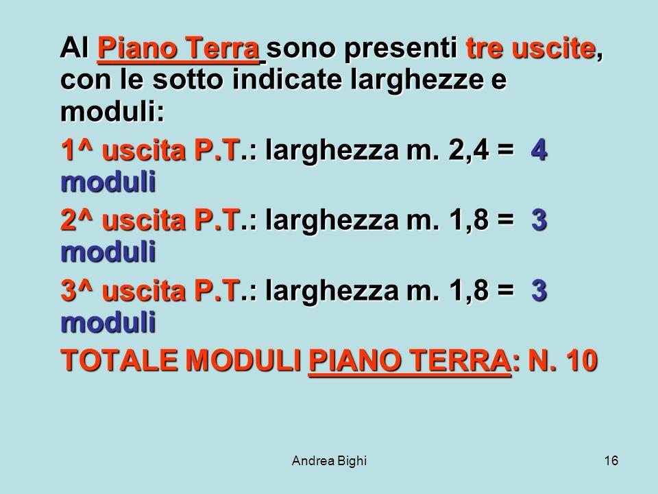 Andrea Bighi16 Al Piano Terra sono presenti tre uscite, con le sotto indicate larghezze e moduli: 1^ uscita P.T.: larghezza m.