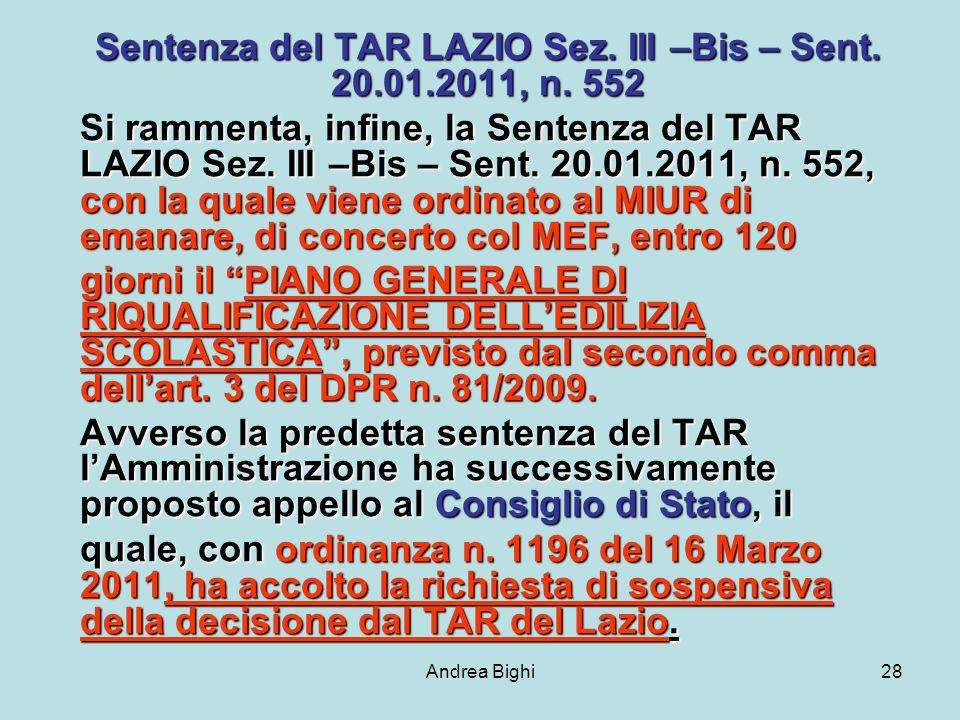 Andrea Bighi28 Sentenza del TAR LAZIO Sez. III –Bis – Sent.