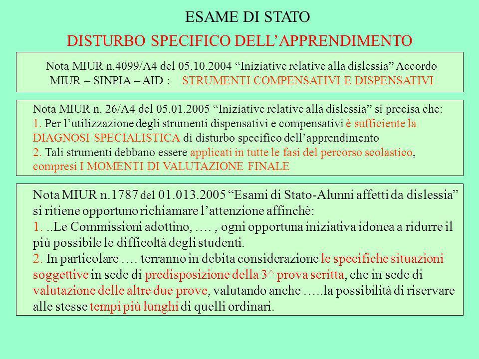 ESAME DI STATO DISTURBO SPECIFICO DELLAPPRENDIMENTO Nota MIUR n.4099/A4 del 05.10.2004 Iniziative relative alla dislessia Accordo MIUR – SINPIA – AID