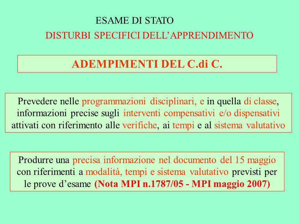 ESAME DI STATO DISTURBI SPECIFICI DELLAPPRENDIMENTO ADEMPIMENTI DEL C.di C. Prevedere nelle programmazioni disciplinari, e in quella di classe, inform
