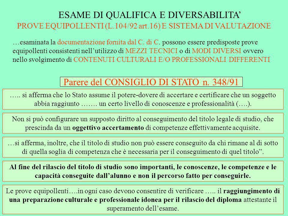 CAPACITA contestualizzate COMPETENZE contestualizzate ESAMI DI QUALIFICA: PEI DIFFERENZIATO CERTIFICATO DEI CREDITI FORMATIVI O.M.90/01 (modelli e chiarimenti ai sensi della C.M.