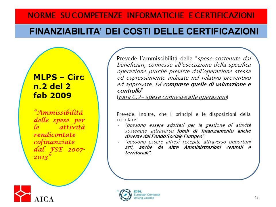 NORME SU COMPETENZE INFORMATICHE E CERTIFICAZIONI 16 FINANZIABILITA DEI COSTI DELLE CERTIFICAZIONI MIUR – AOODGAI/749 del 6 feb 2009 Attuazione delle iniziative cofinanziate dai Fondi Strutturali Europei 2007-2013 Obiettivo Convergenza Prevede lammissibilità dei costi per sostenere gli esami per la certificazione, escludendo quelli relativi alla Skill Card