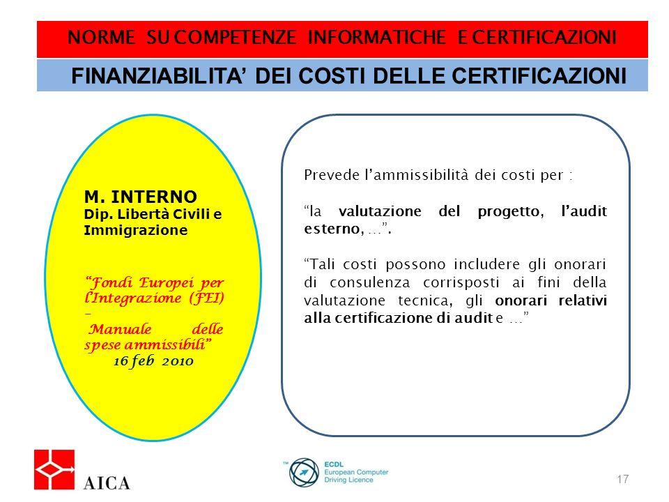 NORME SU COMPETENZE INFORMATICHE E CERTIFICAZIONI 17 FINANZIABILITA DEI COSTI DELLE CERTIFICAZIONI M.