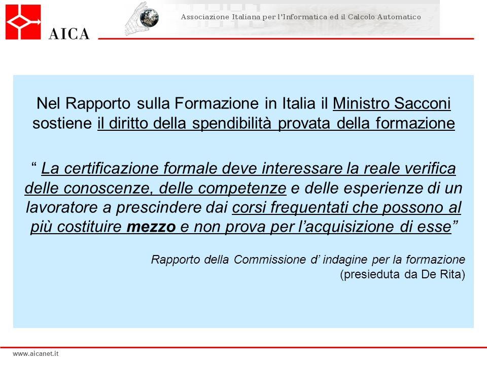 www.aicanet.it Nel Rapporto sulla Formazione in Italia il Ministro Sacconi sostiene il diritto della spendibilità provata della formazione La certific