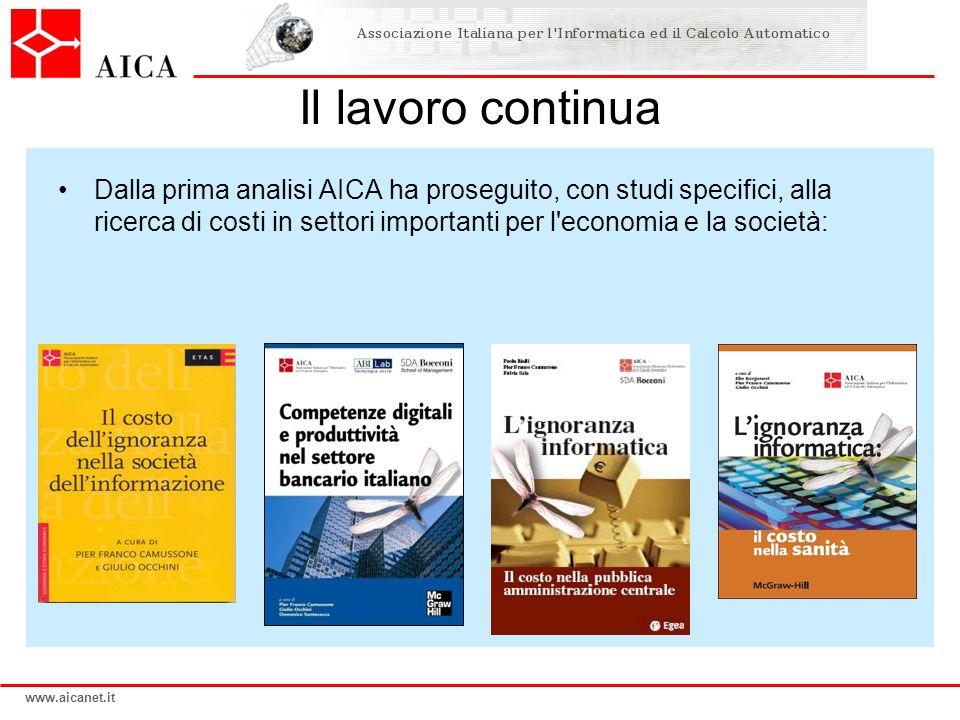 www.aicanet.it Il lavoro continua Dalla prima analisi AICA ha proseguito, con studi specifici, alla ricerca di costi in settori importanti per l'econo
