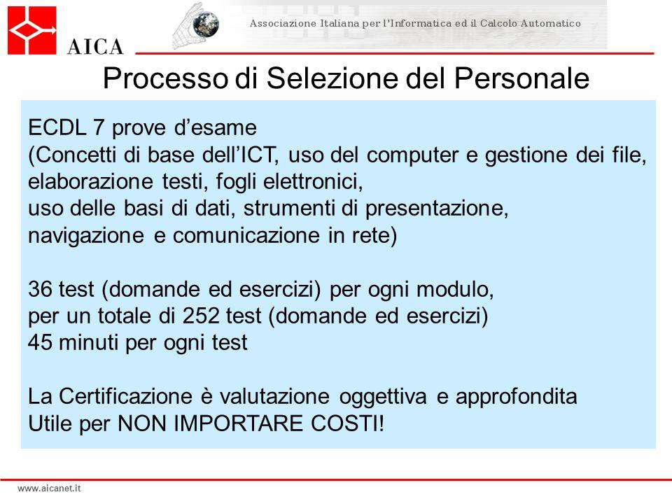 www.aicanet.it ECDL 7 prove desame (Concetti di base dellICT, uso del computer e gestione dei file, elaborazione testi, fogli elettronici, uso delle b