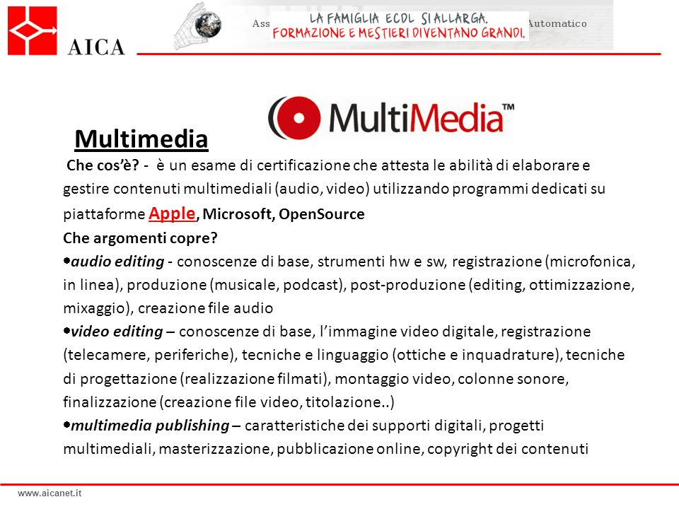 www.aicanet.it Multimedia Che cosè.