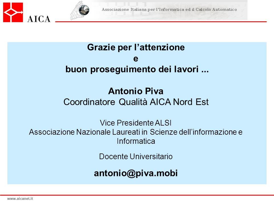 www.aicanet.it Grazie per lattenzione e buon proseguimento dei lavori... Antonio Piva Coordinatore Qualità AICA Nord Est Vice Presidente ALSI Associaz