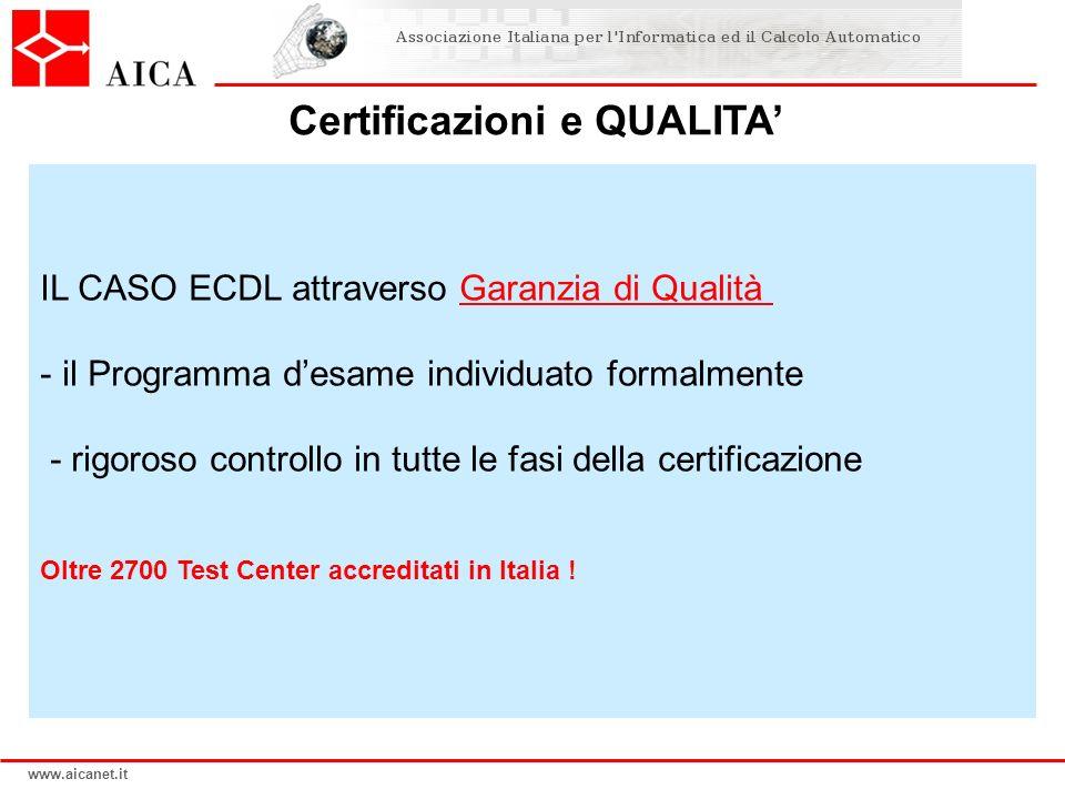 www.aicanet.it IL CASO ECDL attraverso Garanzia di Qualità - il Programma desame individuato formalmente - rigoroso controllo in tutte le fasi della c