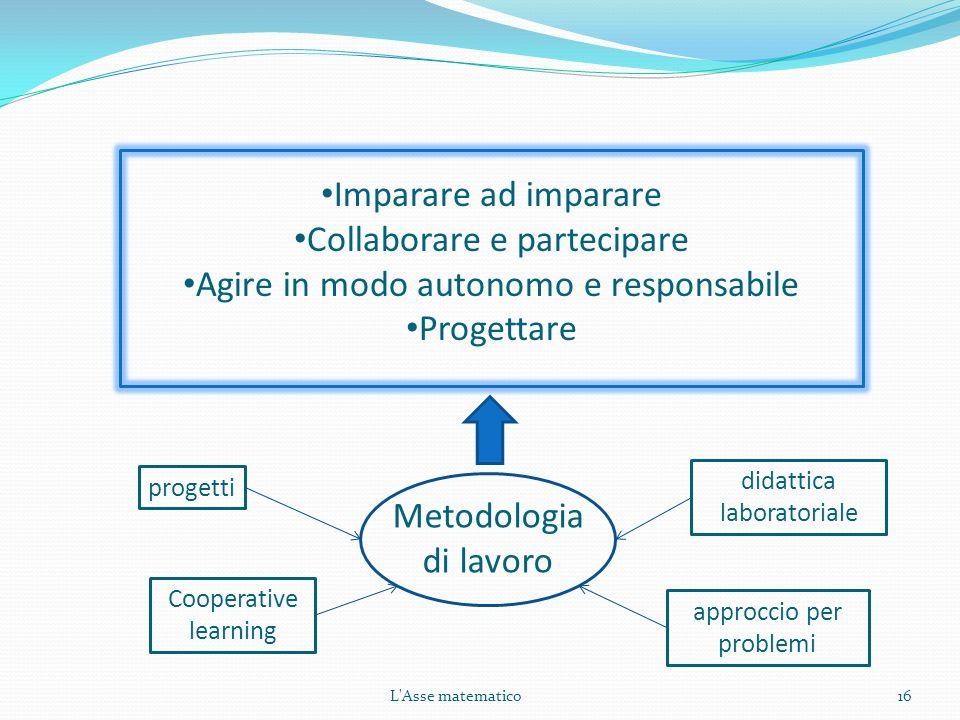 16 Imparare ad imparare Collaborare e partecipare Agire in modo autonomo e responsabile Progettare progetti Cooperative learning approccio per problem