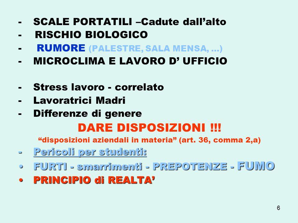 6 -SCALE PORTATILI –Cadute dallalto - RISCHIO BIOLOGICO - RUMORE (PALESTRE, SALA MENSA, …) -MICROCLIMA E LAVORO D UFFICIO -Stress lavoro - correlato -