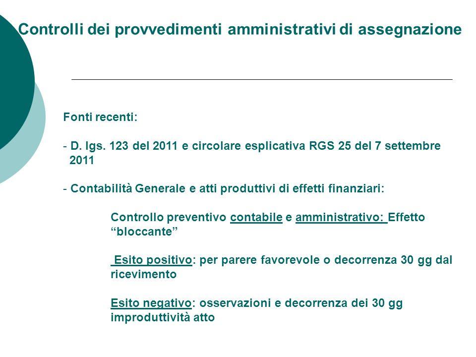Controlli dei provvedimenti amministrativi di assegnazione Fonti recenti: - D.