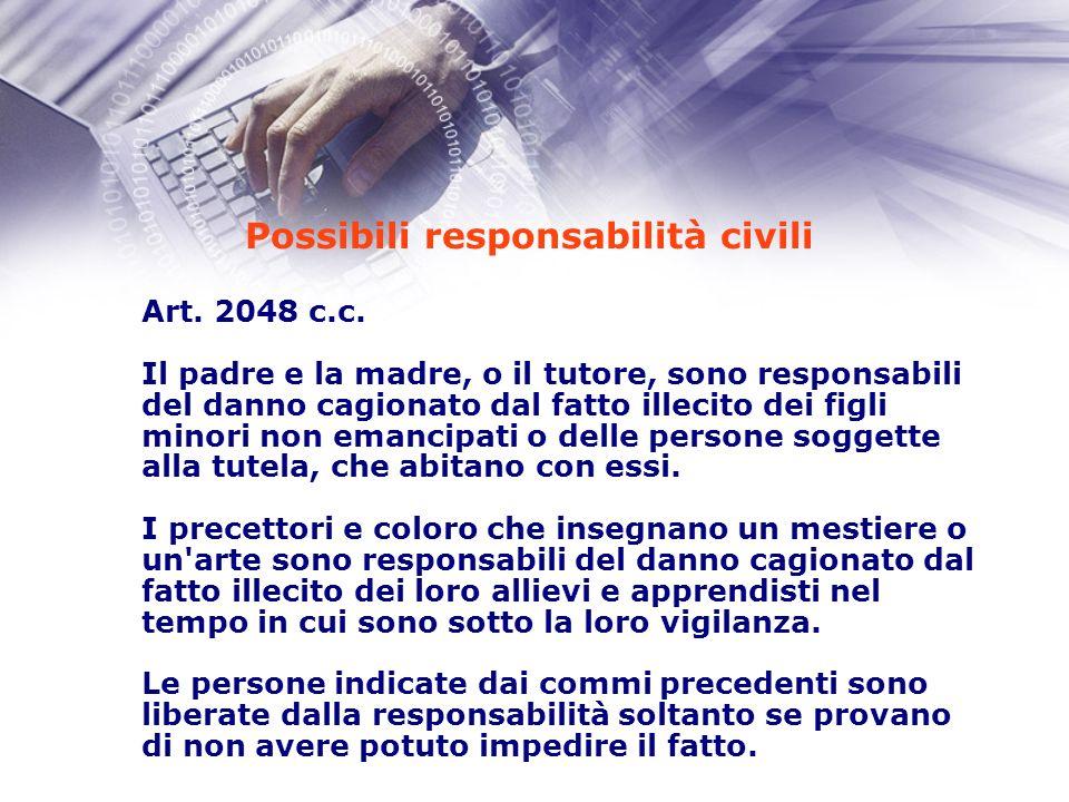 Possibili responsabilità civili Art. 2048 c.c.