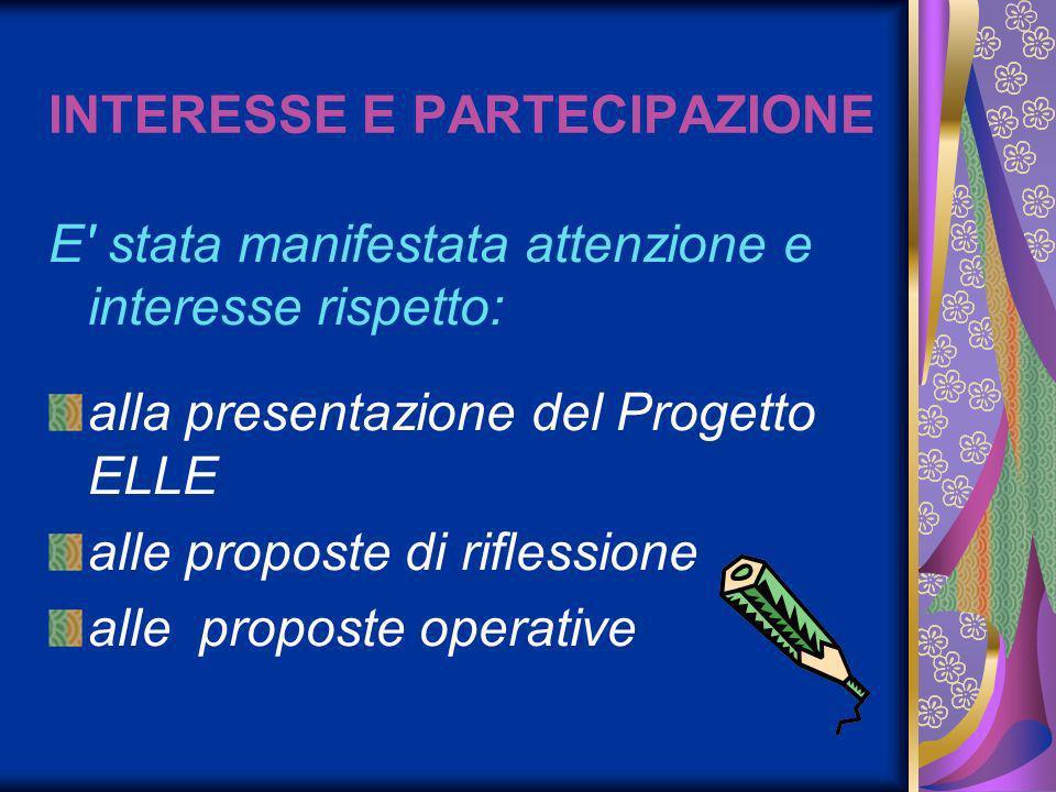 INTERESSE E PARTECIPAZIONE E stata manifestata attenzione e interesse rispetto: alla presentazione del Progetto ELLE alle proposte di riflessione alle proposte operative