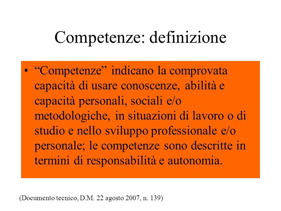 Competenze: definizione Competenze indicano la comprovata capacità di usare conoscenze, abilità e capacità personali, sociali e/o metodologiche, in situazioni di lavoro o di studio e nello sviluppo professionale e/o personale; le competenze sono descritte in termini di responsabilità e autonomia.