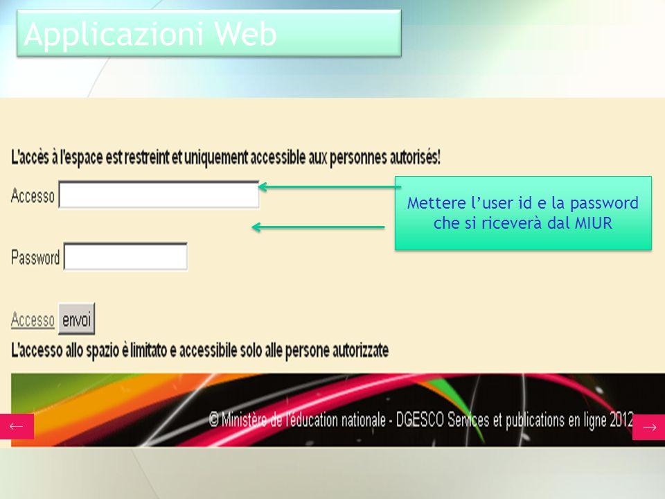 Applicazioni Web Mettere luser id e la password che si riceverà dal MIUR