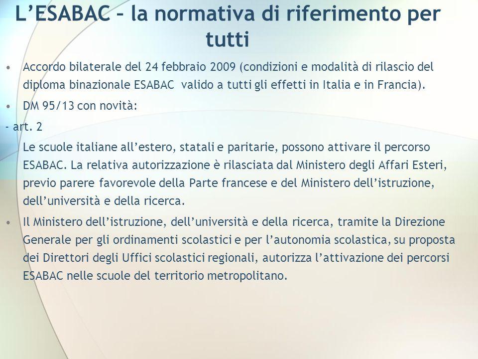LESABAC – la normativa di riferimento per tutti Accordo bilaterale del 24 febbraio 2009 (condizioni e modalità di rilascio del diploma binazionale ESA