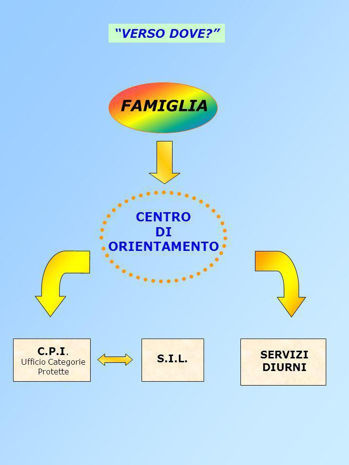 CENTRO DI ORIENTAMENTO C.P.I. Ufficio Categorie Protette S.I.L. SERVIZI DIURNI VERSO DOVE? FAMIGLIA