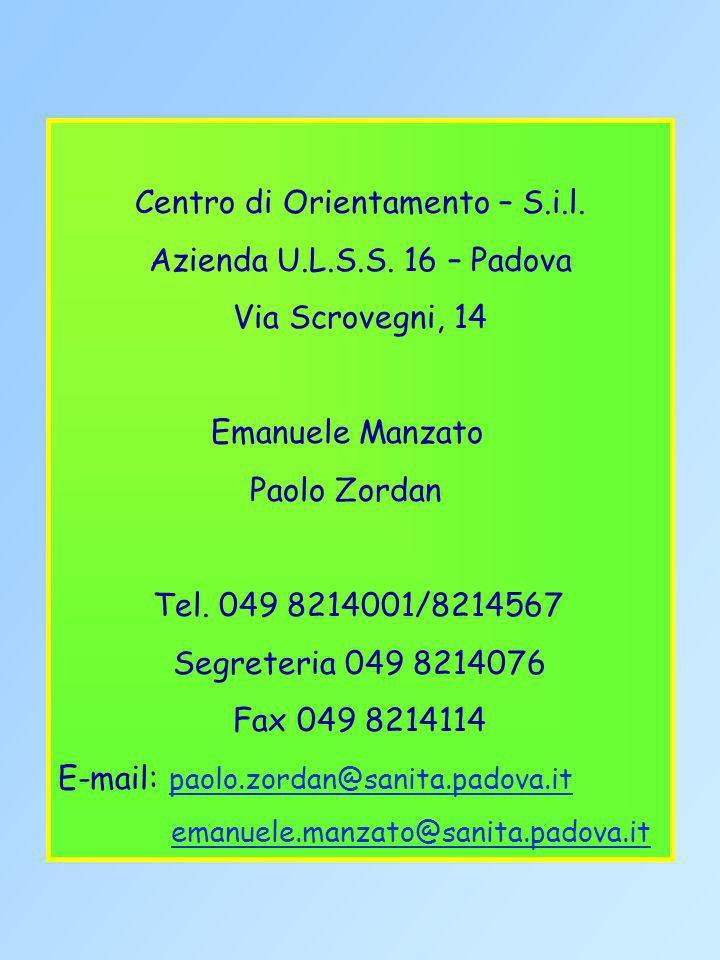 Centro di Orientamento – S.i.l. Azienda U.L.S.S. 16 – Padova Via Scrovegni, 14 Emanuele Manzato Paolo Zordan Tel. 049 8214001/8214567 Segreteria 049 8