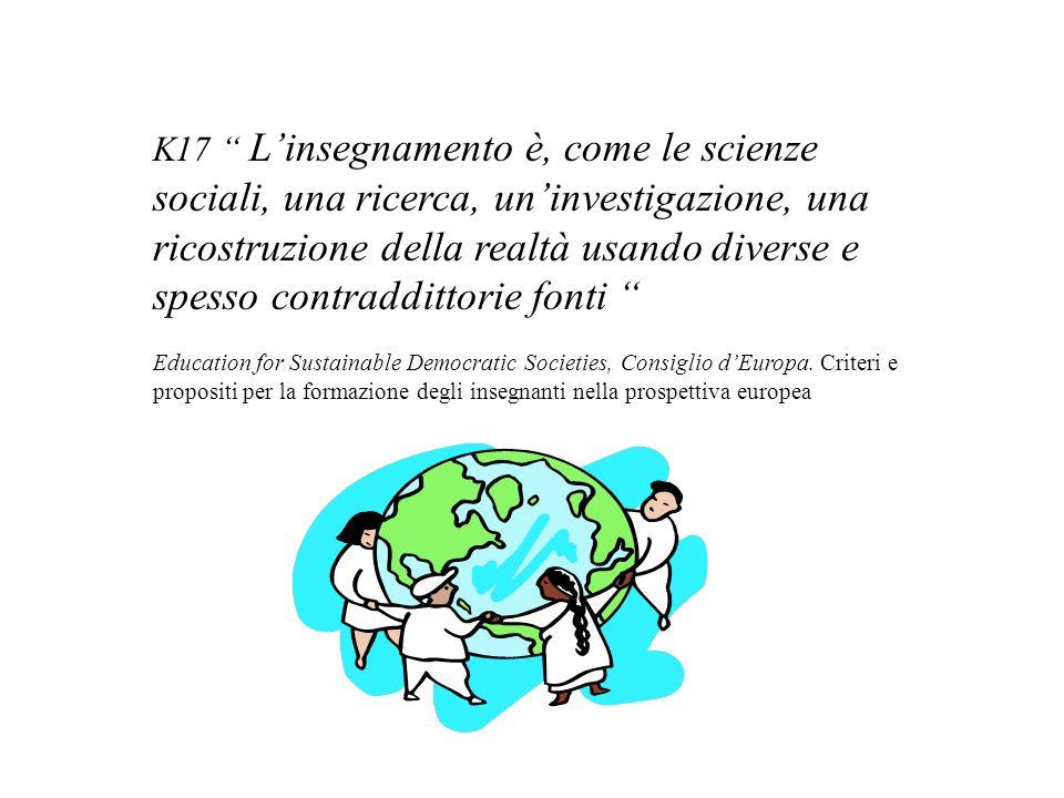 K17 Linsegnamento è, come le scienze sociali, una ricerca, uninvestigazione, una ricostruzione della realtà usando diverse e spesso contraddittorie fonti Education for Sustainable Democratic Societies, Consiglio dEuropa.