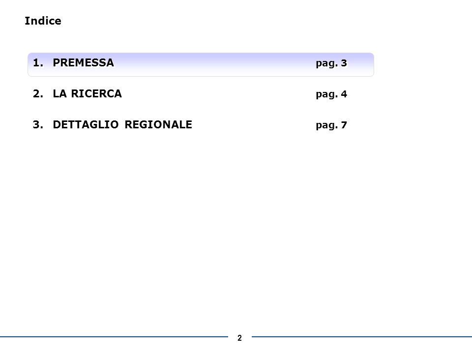 2 Indice 1.PREMESSA pag. 3 2.LA RICERCA pag. 4 3.DETTAGLIO REGIONALE pag.