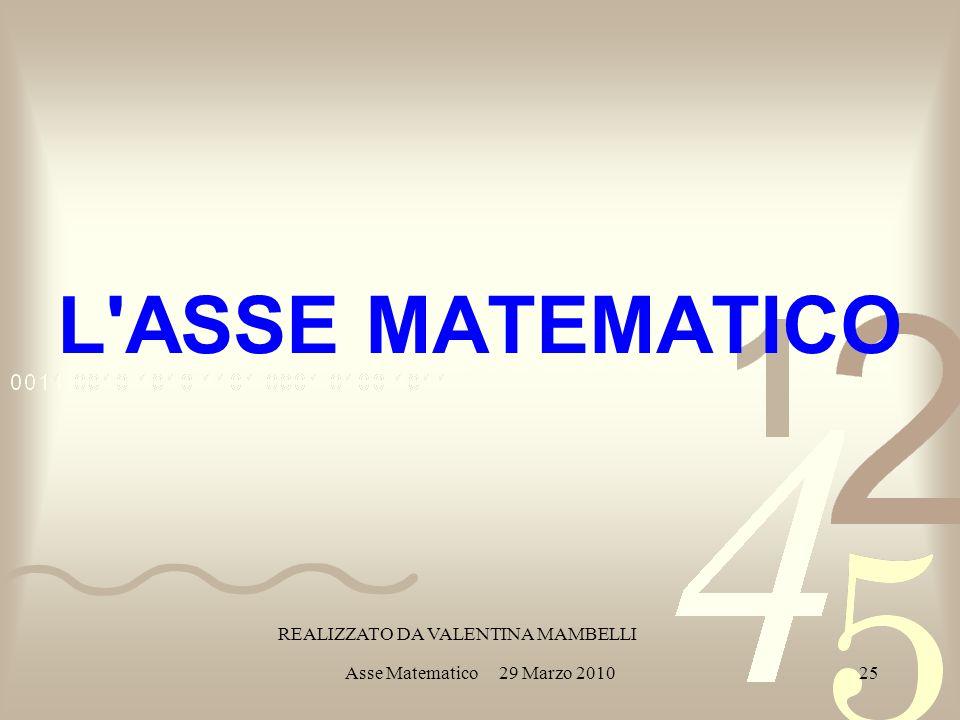 Asse Matematico 29 Marzo 201025 L ASSE MATEMATICO REALIZZATO DA VALENTINA MAMBELLI