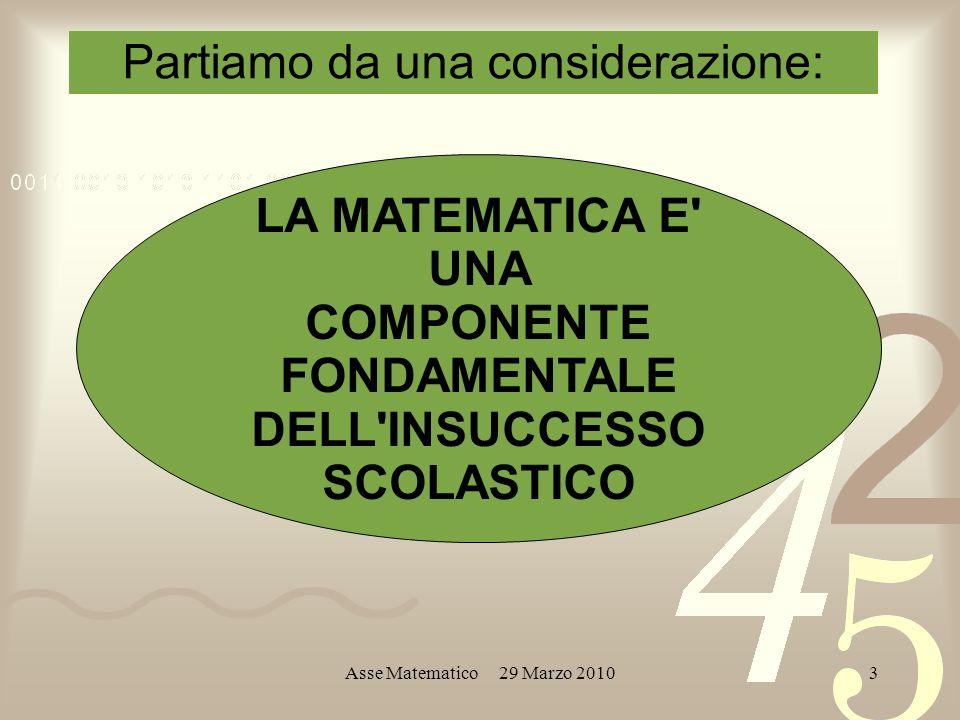 Asse Matematico 29 Marzo 20103 LA MATEMATICA E UNA COMPONENTE FONDAMENTALE DELL INSUCCESSO SCOLASTICO Partiamo da una considerazione: