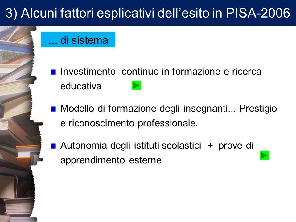 3) Alcuni fattori esplicativi dellesito in PISA-2006 Investimento continuo in formazione e ricerca educativa Modello di formazione degli insegnanti...