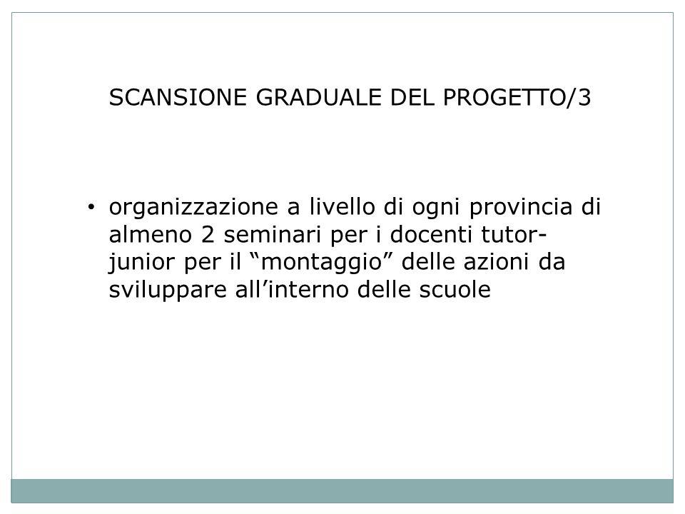 SCANSIONE GRADUALE DEL PROGETTO/3 organizzazione a livello di ogni provincia di almeno 2 seminari per i docenti tutor- junior per il montaggio delle azioni da sviluppare allinterno delle scuole