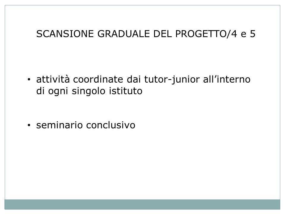 SCANSIONE GRADUALE DEL PROGETTO/4 e 5 attività coordinate dai tutor-junior allinterno di ogni singolo istituto seminario conclusivo