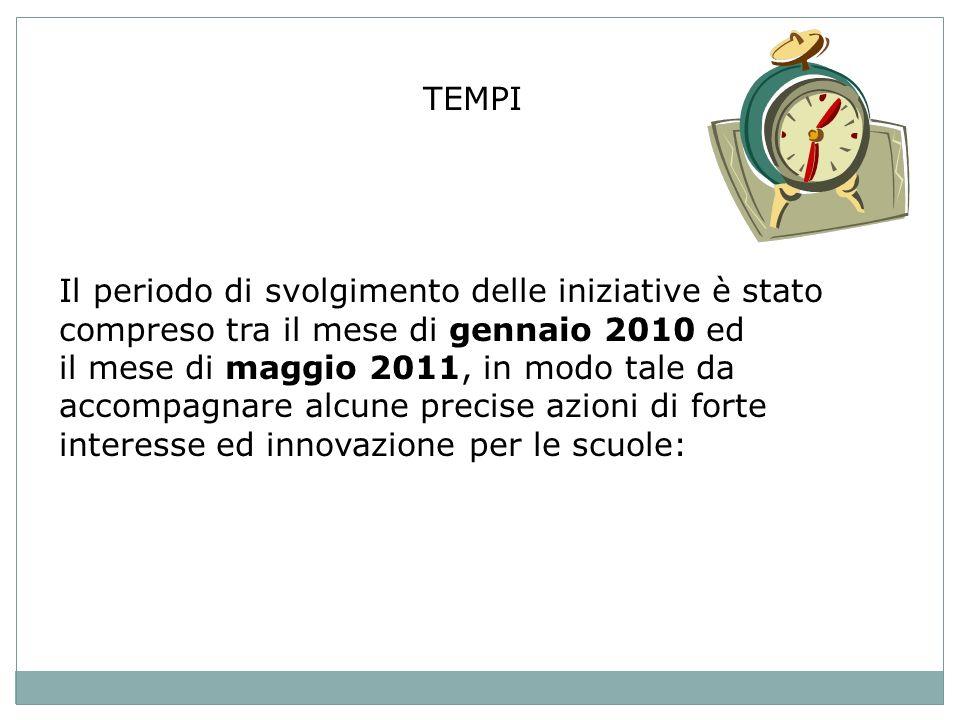 TEMPI Il periodo di svolgimento delle iniziative è stato compreso tra il mese di gennaio 2010 ed il mese di maggio 2011, in modo tale da accompagnare alcune precise azioni di forte interesse ed innovazione per le scuole: