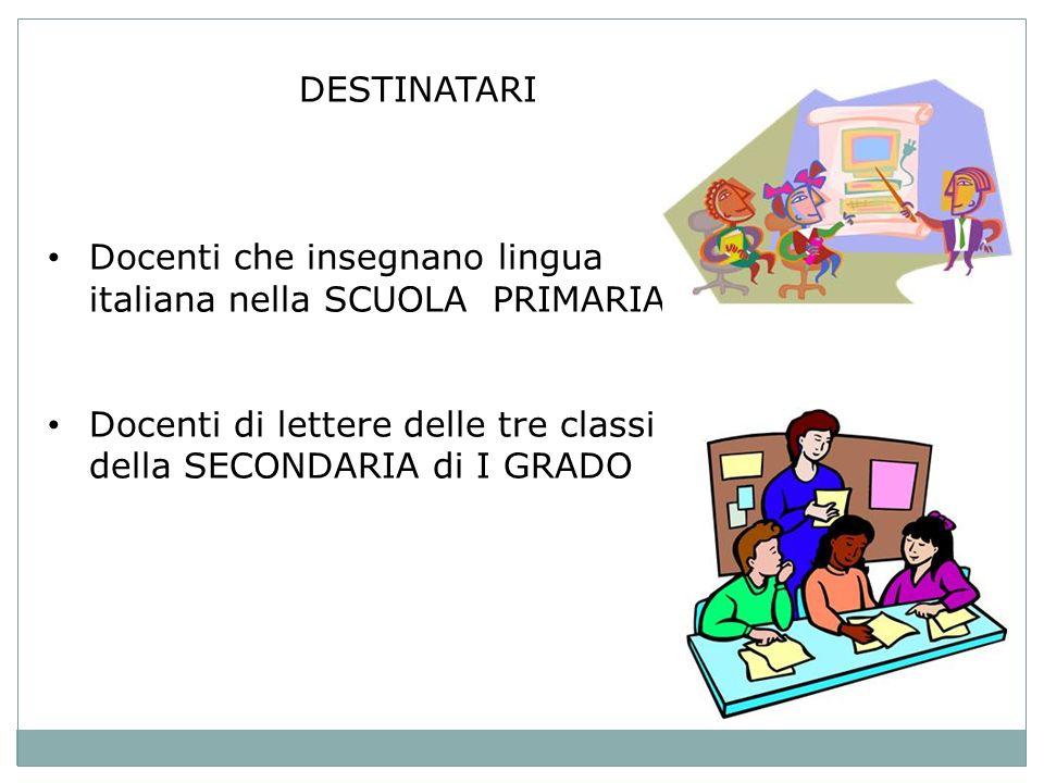 DESTINATARI Docenti che insegnano lingua italiana nella SCUOLA PRIMARIA Docenti di lettere delle tre classi della SECONDARIA di I GRADO