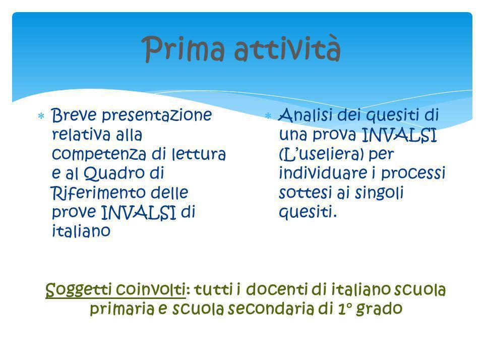 Prima attività Breve presentazione relativa alla competenza di lettura e al Quadro di Riferimento delle prove INVALSI di italiano Analisi dei quesiti
