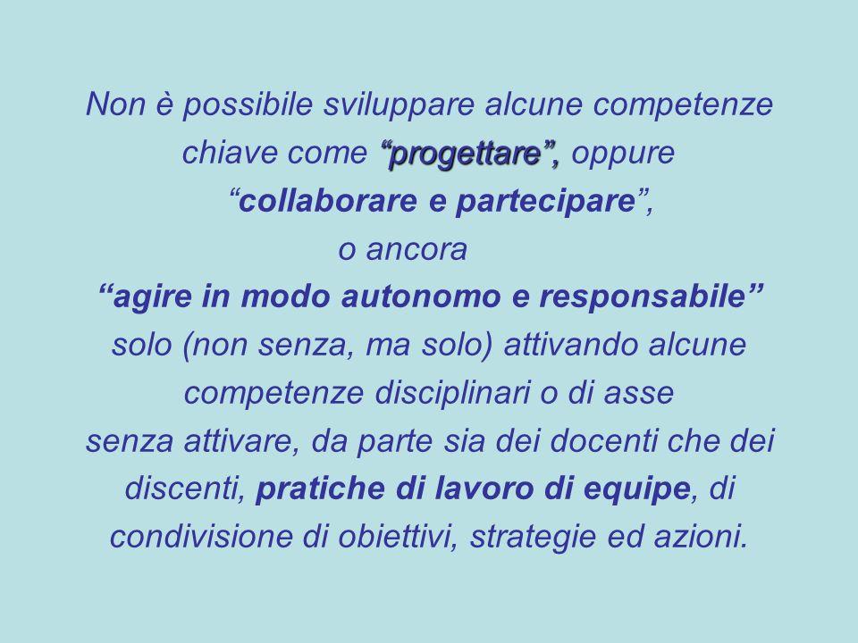 Non è possibile sviluppare alcune competenze progettare, chiave come progettare, oppure collaborare e partecipare, o ancora agire in modo autonomo e r