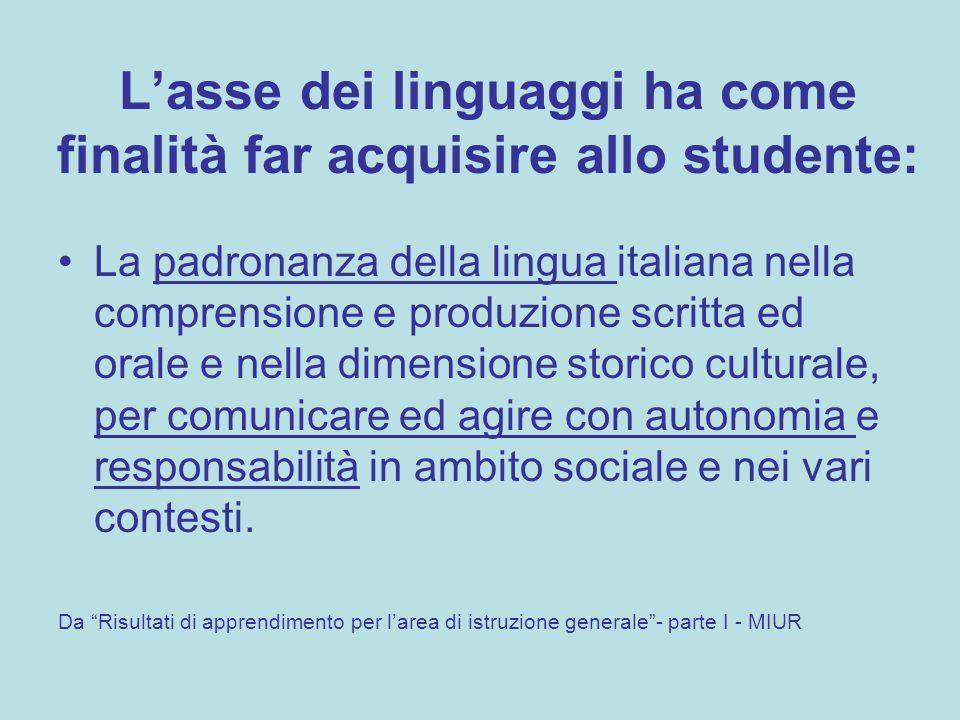 Lasse dei linguaggi ha come finalità far acquisire allo studente: La padronanza della lingua italiana nella comprensione e produzione scritta ed orale