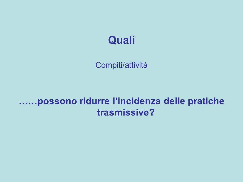 Quali Compiti/attività ……possono ridurre lincidenza delle pratiche trasmissive?
