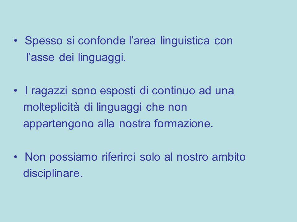 Spesso si confonde larea linguistica con lasse dei linguaggi. I ragazzi sono esposti di continuo ad una molteplicità di linguaggi che non appartengono
