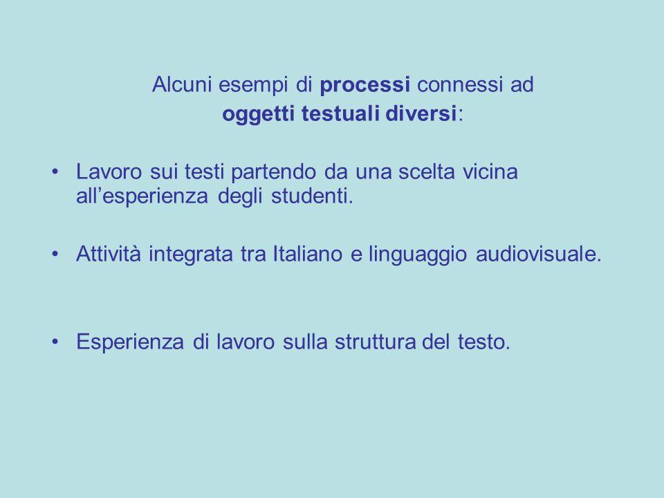 Alcuni esempi di processi connessi ad oggetti testuali diversi: Lavoro sui testi partendo da una scelta vicina allesperienza degli studenti. Attività