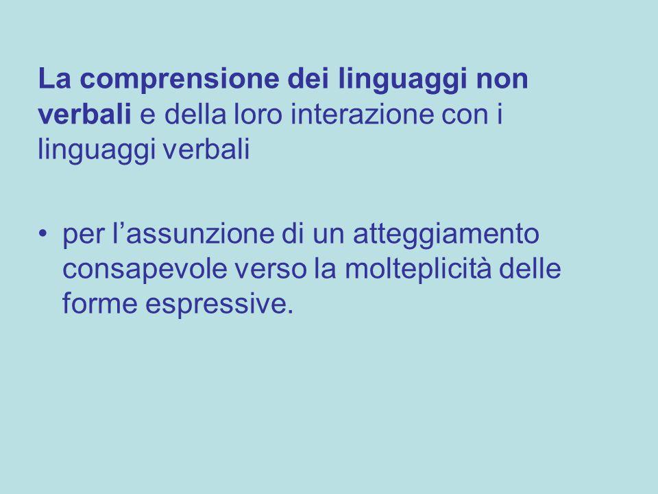 La comprensione dei linguaggi non verbali e della loro interazione con i linguaggi verbali per lassunzione di un atteggiamento consapevole verso la mo