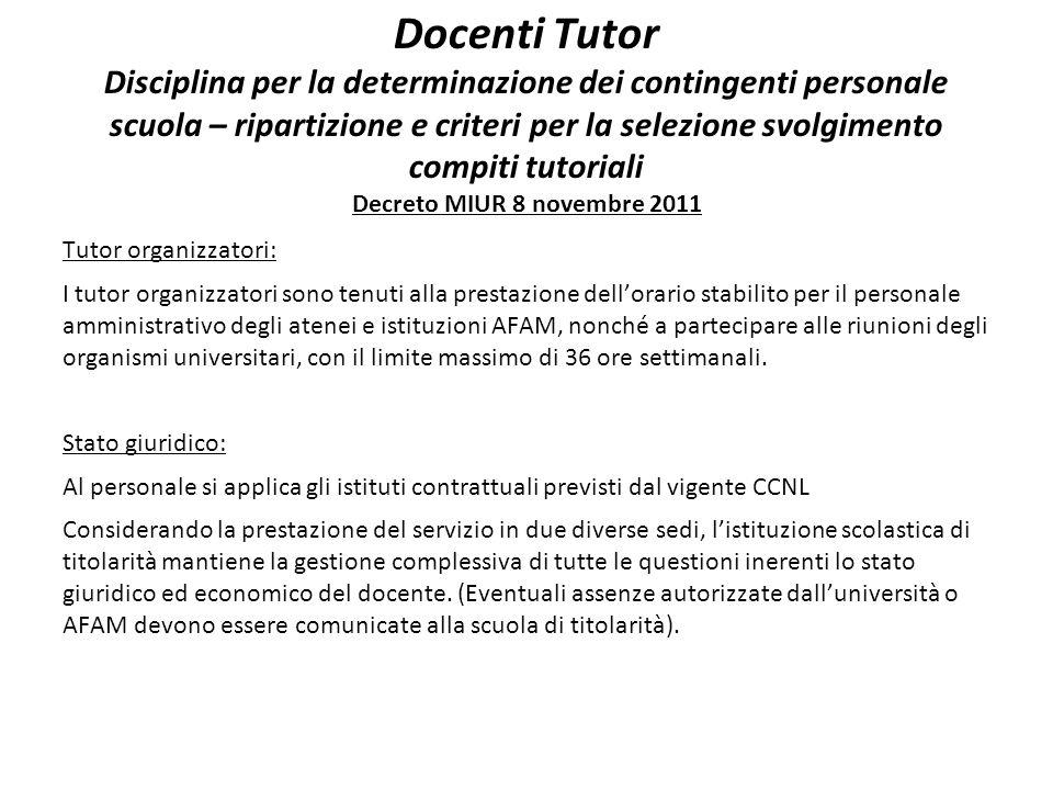 Docenti Tutor Disciplina per la determinazione dei contingenti personale scuola – ripartizione e criteri per la selezione svolgimento compiti tutorial