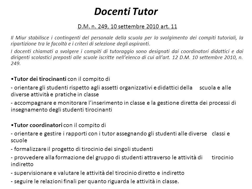 Docenti Tutor D.M. n. 249, 10 settembre 2010 art. 11 Il Miur stabilisce i contingenti del personale della scuola per lo svolgimento dei compiti tutori